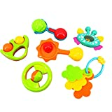 Rattles Toy, PeleusTech Baby Hand Shake Bell Ring Rattles Toy Gift Set Children Education Toys (6Pcs) Random Delivery
