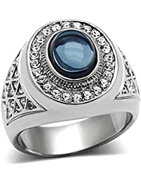 Men's Oval Cut Dark Blue Montana Dome Stone Silver Stainless Steel Ring Size 8-14