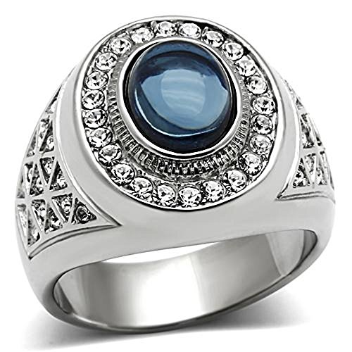 Pave Set Dome Ring (Men's Oval Cut Dark Blue Montana Dome Stone Silver Stainless Steel Ring Size 8-14 (13))