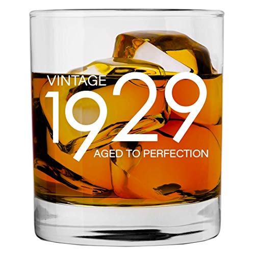 1929 90th Birthday Gifts for Men and Women Whiskey Glass   Bourbon Scotch Glasses 90th Bday Gift Ideas for Him Her Dad Mom Husband Wife   11 oz Whisky Old Fashioned Bar Glasses Lowball Decorations