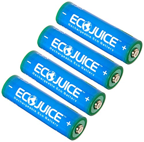 - Eco Juice AA Rechargeable Batteries Micro USB Ni-MH Universal eco-Friendly 1000x Rechargeable by ECO Juice Micro-USB Rechargeable Battery 4 Pieces pre-Charged