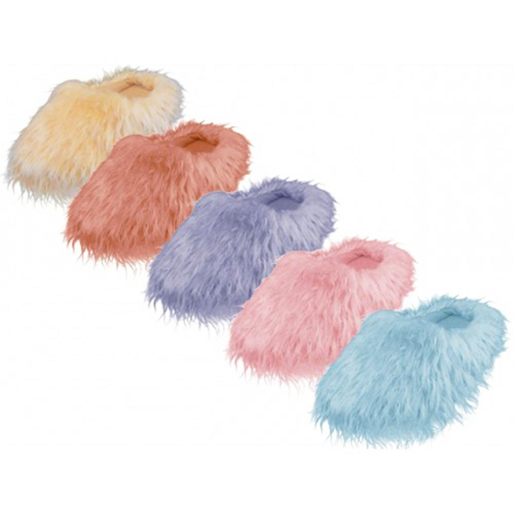 Womens Pink Furry Fuzzy Slippers (Medium) by Easy (Image #2)