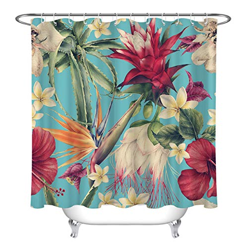 LB Vintage Tropical Island Flower Plant Shower Curtain for Bathroom, Hawaiian Leaves Hibiscus Plumeria Orchid FloralBathroom Set, 70 W x 78 L Extra Long, Waterproof Fabric Curtain (Shower Tropical Curtain Vintage)