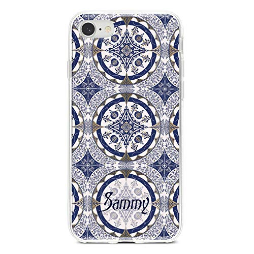 Custom personalized phone case with name initials or monogram, silicone cover suitable for iPhone, Samsung Galaxy, Honor, Pixel, Huawei - Portuguese tile