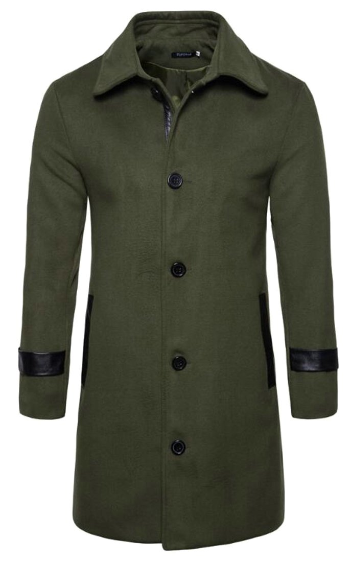 Pandapang Mens Single Breasted Stylish Slim Solid Overcoat Pea Coat Army Green M