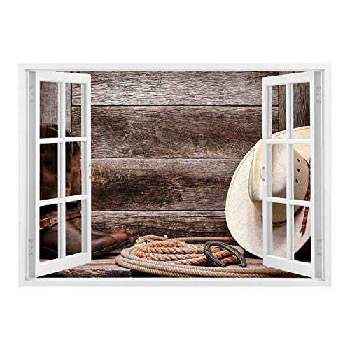 SCOCICI Removable Wall Sticker/Wall Mural/Western Decor,American West Rodeo White Straw Cowboy Hat with Lariat Leather Boots on Rustic Barn Wood,/Wall Sticker Mural