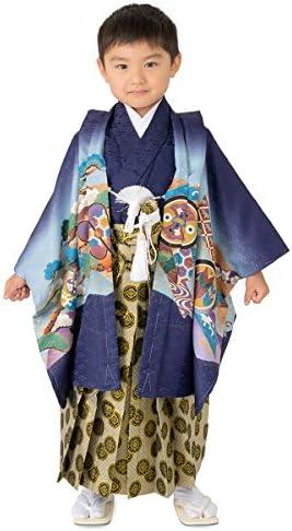 七五三男の子着物袴セット 紺 兜に軍配 3才(100cm) 数5才(110cm) 満5才(115cm) 7才(120cm) 男児 着物