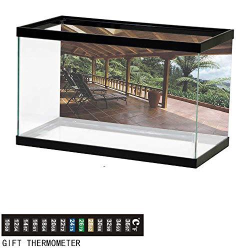 Suchashome Fish Tank Backdrop Patio,Terrace with Tropical View,Aquarium Background,36