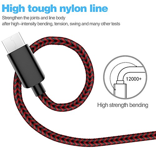 TNSO USB Type C Cable 5Pack (3/3/6/6/10FT) Nylon Braided Cord USB Fast Charger for Samsung Galaxy S9,Note 8,S8 Plus,LG V30 V20 G6 G5,Google Pixel,Nexus 6P 5X,Moto Z Z2 (black and red) by SANYEYE (Image #1)