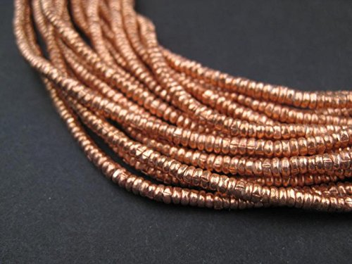 Copper Heishi Beads - Full Strand Ethiopian Metal Spacers for Jewelry Making - The Bead Chest (3mm)
