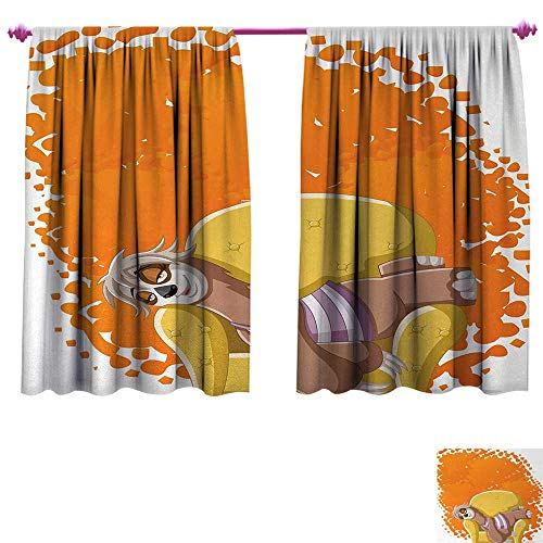 Anniutwo Sloth Customized Curtains Lazy Female Cartoon Sloth on Sofa Napping on Couch Dreaming Mascot Speech Bubble Patterned Drape for Glass Door W84 x L72 Orange Yellow