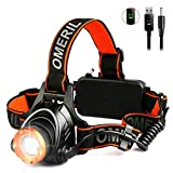 LED Head Torch -OMERIL USB Rechargeable...