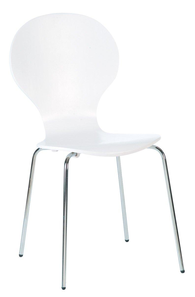 Designa Furniture - Sedie da pranzo con gambe cromate, 85 x 45 x 45 cm, Set da 4 unità, colore: Bianco 3400321