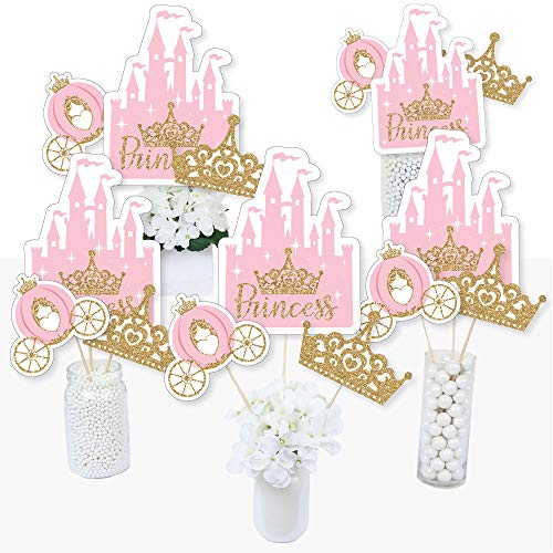 Party Birthday Centerpiece Table (Little Princess Crown - Pink and Gold Princess Baby Shower or Birthday Party Centerpiece Sticks - Table Toppers - Set of 15)