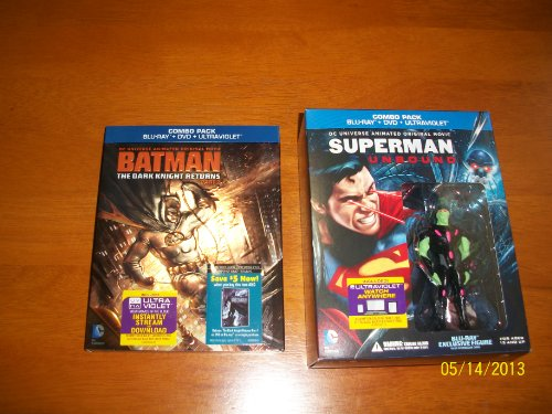 Superman Unbound & Batman The Dark Knight Return Part 2 Combo pack Blu-ray+DVD+Ultraviolet (includes Blu-ray Exclusive Figure for Superman movie only)