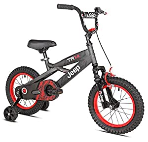 "Jeep Boy's Bike, 14"", Grey/Black/Red"