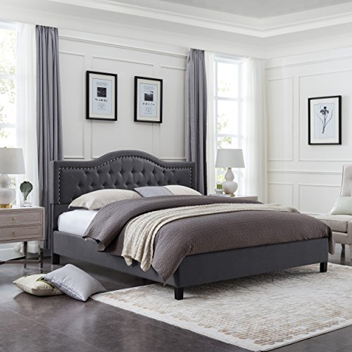 (Jacko Fully-Upholstered Traditional Queen-Sized Bed Frame, Dark Gray)