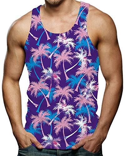 Print Tank Top for Men Workout Sleeveless Shirt Cool Tropical Aloha Hawaiian Coconut Tree Graphic Tees - Tank Aloha