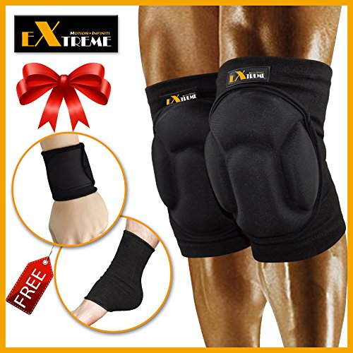 Motion Infiniti - Best Volleyball Knee Pads - No More Bruises with This Multi-purposed Knee Pads - Premium Made for Flooring, Gardening and Wrestling Knee Pads- 100% Money Back Guarantee! (Goalie Pads Ice Hockey Chest)