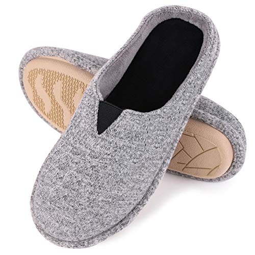 Rubber Sole House Slippers - Bedroom Slippers - Memory Foam Slippers with Elastic Band for Women (11-12 M US, Light Gray)