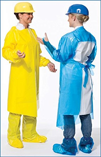 VR Protective Wear Vinyl Replacement Gown openback w/elastic-cuffs 4 mil safety yellow X-large 45x50 inches , (Pack of 50) PolyConversions, Inc. 42654 by VR Protective Wear (Image #1)