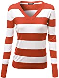 Awesome21 Women's Basic V Neck Stripe Pull Over Knit Sweaters