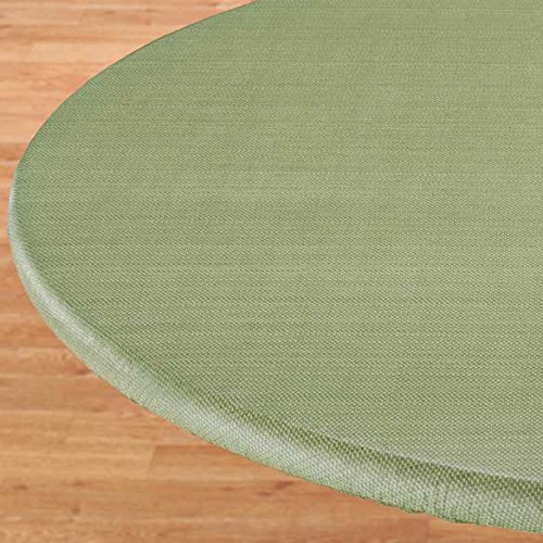 UPC 616418666174, Basketweave Elastic Table Cover - Large Round in Green