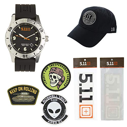 5.11 Kits Men's Military Tactical Sentinel Watch, Style 50133, Hat, Patches, and Decals Set Pack - Matte Black (Cap Military Black Matte)