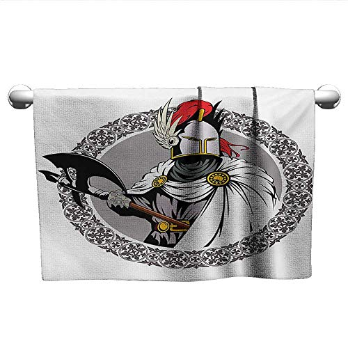 Bensonsve Pattern Hand Towels Medieval,The Medieval Knight with Traditional Costume and Ancient Mask Heroic Past Theme,Multicolor,Microfiber Towel for Hair -