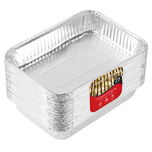 Aluminum Drip Pans (25 Pack) Grill Drip Pans - Disposable Grease Catch Pans - Weber Grill Compatible Drip Pan Liners to Catch Grease - BBQ Drip Pan - 7.5 x 5 (Pans Drip Grill)