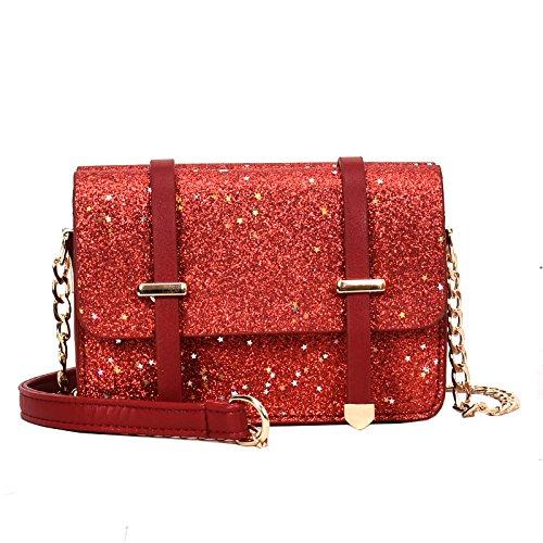CJshop Nuevos modelos de nuevas bolsas pequeñas, cadenas, Bolsos con bandoleras, bolsas de mujer, lentejuelas, inclinados satchel, franqueo, bolsas, colores más brillantes, etc,brown Gules