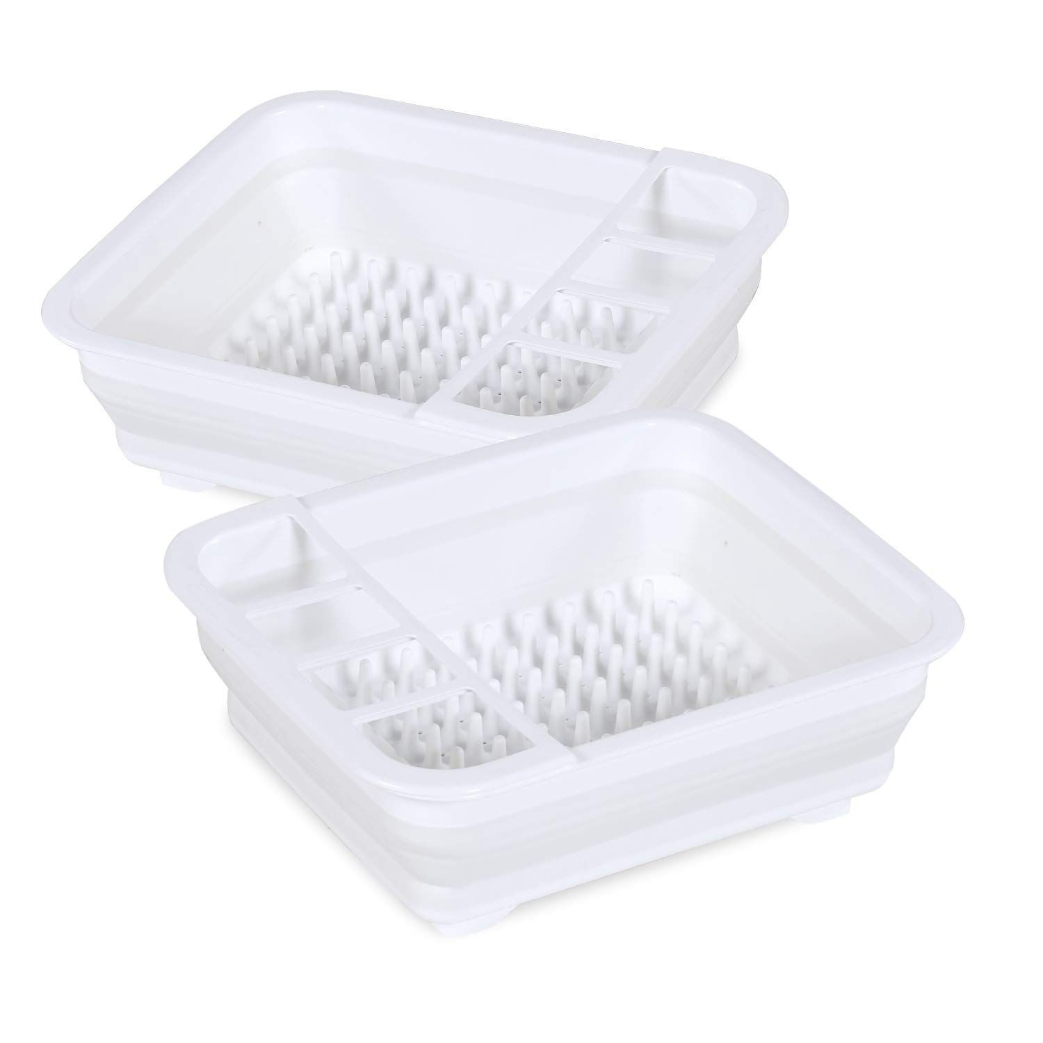 Flamingo P Easy Storage Collapsible Dish Rack and Drainer with Cutlery Holder Kitchen Compact Dish Rack White Plastic, 2 Pack