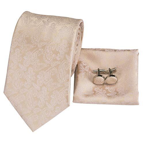 (Hi-Tie Mens Classic Champagne Paisley Tie Necktie Pocket Square and Cufflinks Tie Set Gift Box)