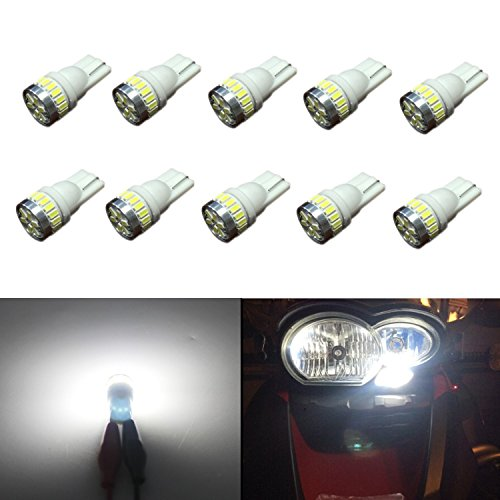 JDM ASTAR 10pcs Super Bright 360-Degree Shine 194 168 175 2825 T10 24-EX Chipsets LED Bulbs,Xenon White (Interior Use Only) (Honda Shine compare prices)