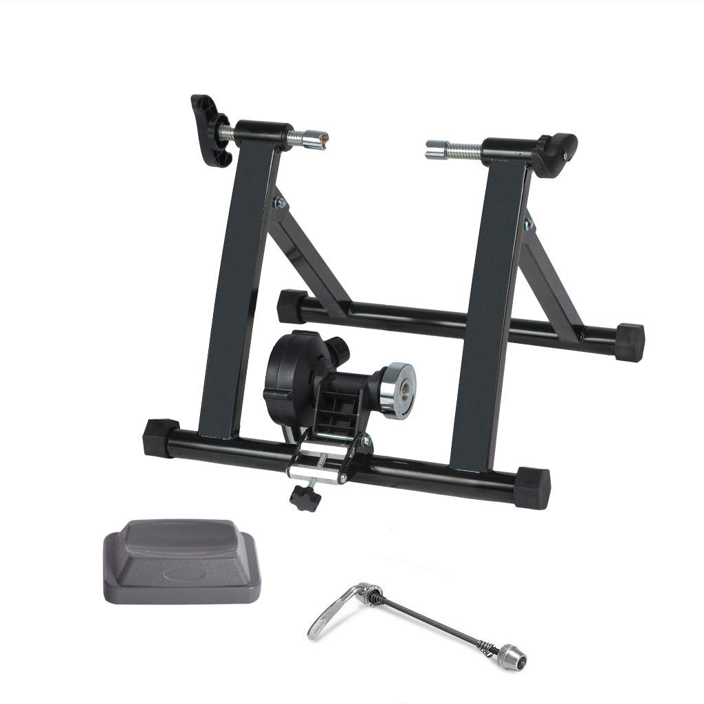 Geetobby Bike Trainer Reluctance Bicycle Training Rack Parking Rack Indoor Fitness Equipment with Front Wheel Pad Quick Release Suitable for Diameter 24-29inch Stationary Stand for Indoor Exercise
