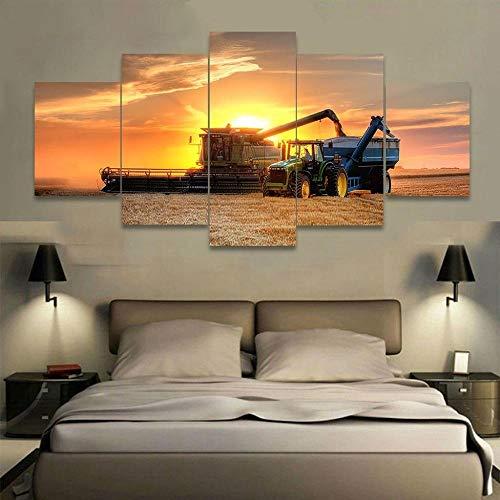 csfhfh 5 Print On Canvas Framed Wall Art Modular Picture Home Decoration Living Room Giclee Canvas Print Painting On Canvas Farm Tractor-20X35Cmx2 20X45Cmx2 20X55Cmx1 ()