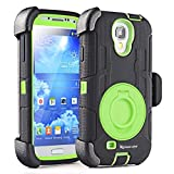 S4 Case,Drop-Proof Protective Case and Holster for Samsung Galaxy S4 - Extremly Protective Dual layer Case with 360 Degrees Swivel Ring Kickstand and Rugged Face- in and out Holster (Black Green)