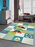 Enfants Jeu de tapis Design enfants tapis tapis de pirate avec contour coupé Turquoise Blanc Vert Rouge Jaune Rose Größe 140x200 cm