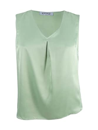 4b3bde040bfad3 Image Unavailable. Image not available for. Color  Kasper Womens Satin Sleeveless  Shell ...