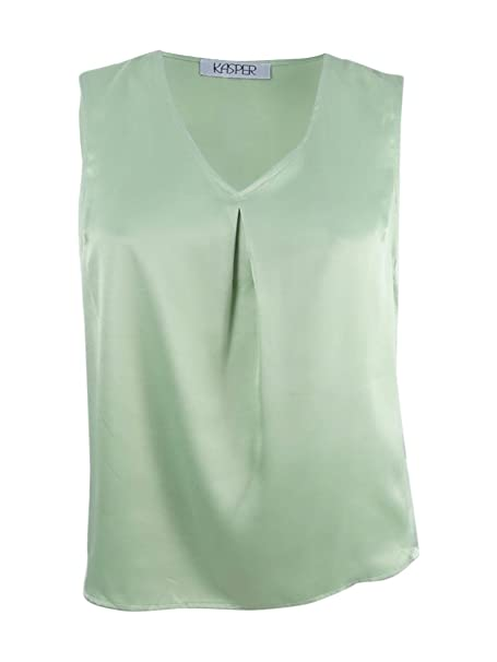 d46f8f1ce77bf Kasper  59 Womens New 1373 Green V Neck Sleeveless Casual Blouse M B ...
