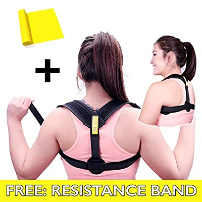 Back Posture Corrector (Comfortable) for Women & Men – Effective for Slouching & Hunching - Included: Resistance Training Band – Fits any Size, Easy Washable, Adjustable, Clavicle Support, Pain Relief
