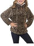 #4: ZESICA Girls Kids 1/4 Zip Pebble Pile Sherpa Fleece Pullover Jacket Tops