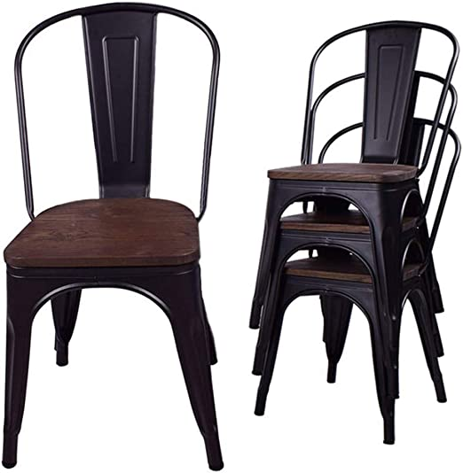 Amazon Com Metal Dining Chairs Stacking Metal Farmhouse Chairs With Rubber Feet Wood Seat Kitchen Chairs Trattoria Chairs For Restaurant Bistro Cafe Industrial Vintage Rustic Matte Black Set Of 4 Chairs