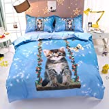 Beddinginn Cute Cat Swing Bedding Set Kids Loves 3d Duvet Cover Set Butterfly Print Girls Bed Set Twin