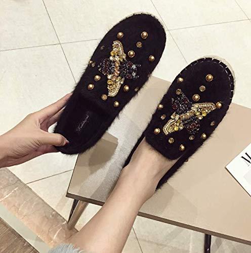 HBDLH Damenschuhe Flache Sohle Einzelne Schuhe Wasser Wasser Wasser Läuft Damenschuhe Flanell EIN Pedal Faul Schuhe 8fe323