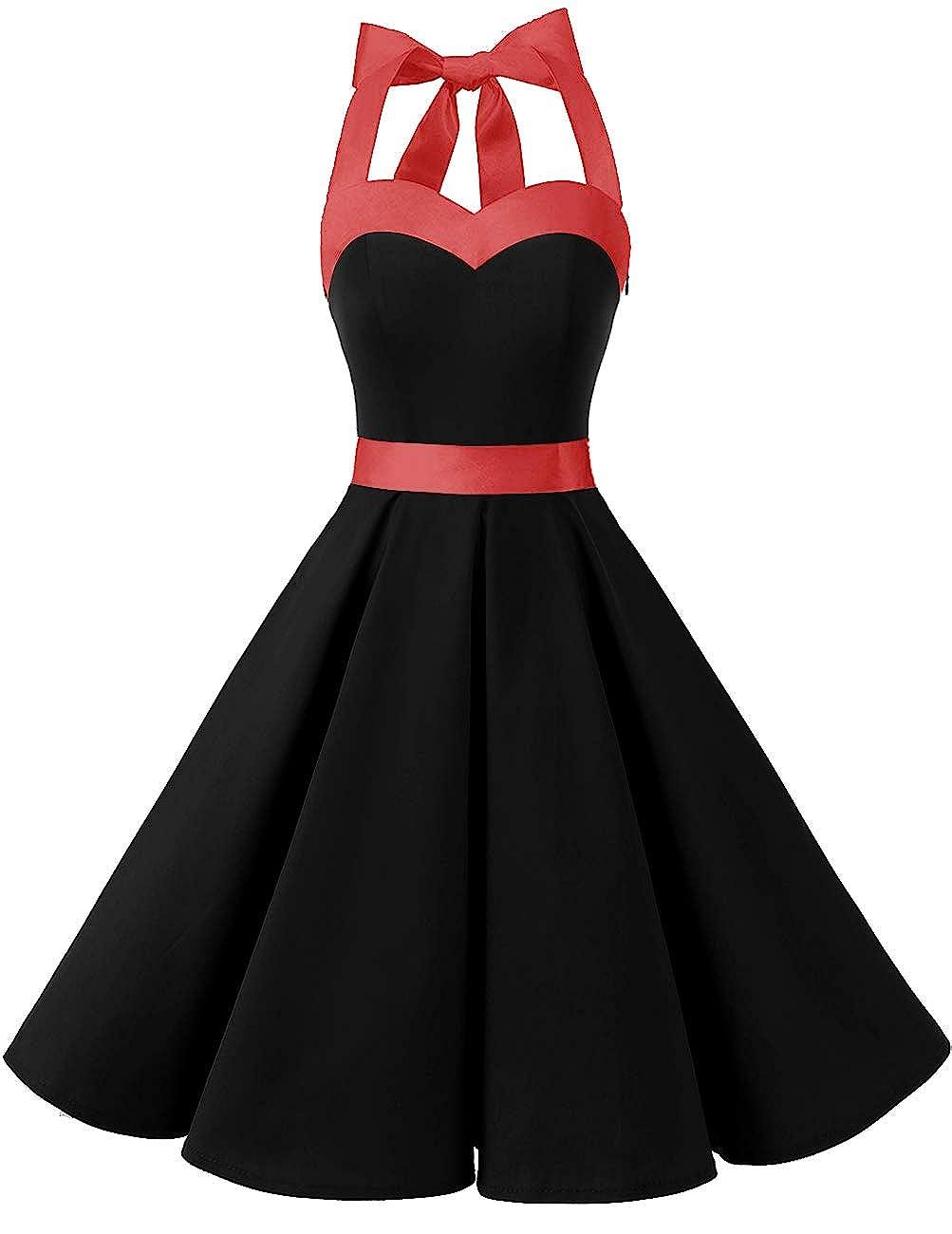 TALLA XL. Dresstells® Halter 50s Rockabilly Polka Dots Audrey Dress Retro Cocktail Dress Royal Blue Flower XL