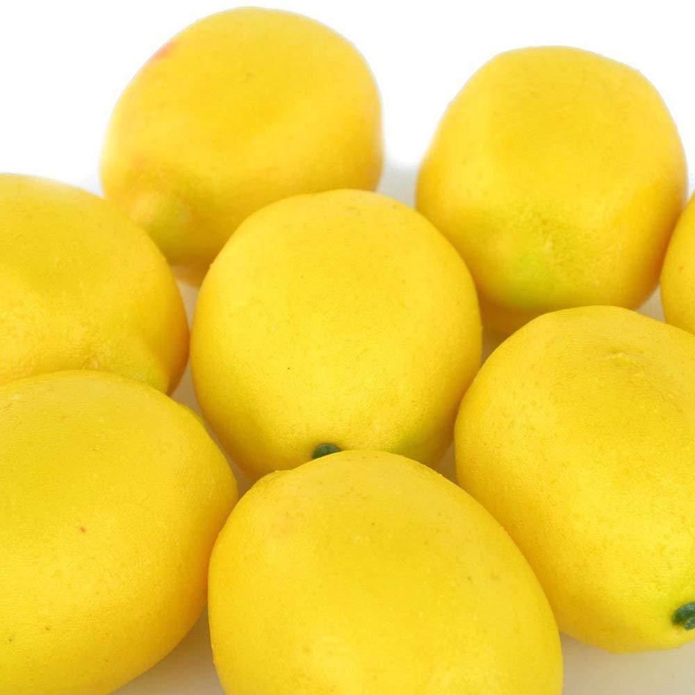 Color Amarillo Jia Hu para Decorar fot/ógrafos 10 Piezas de lim/ón Artificial mesas tama/ño Grande dise/ño de Frutas Artificiales