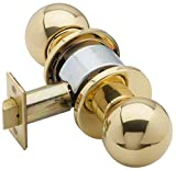 Schlage D10S ORB 605 14-001 10-025 D-Series Grade 1 Cylindrical Lock, Passage Function (ANSI F75), Keyless, Orbit Knob with Rose, Bright Brass Finish