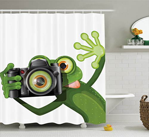 Ambesonne Animal Decor Shower Curtain Set, Photographer Merry Green Frog Taking A Picture with His Camera Cute Funny Artful Print, Bathroom Accessories, 69W X 70L Inches, Kelly Green