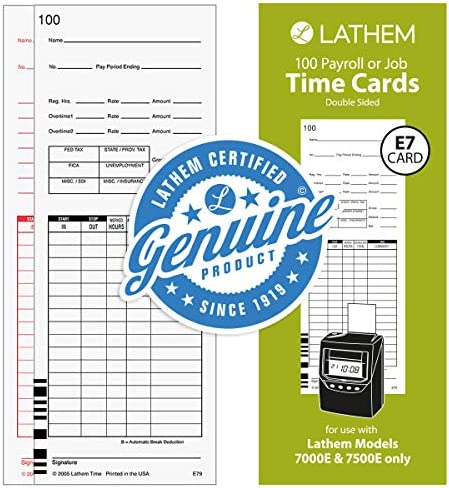 100//pack Lathem Time 2-Sided Time Cards for 7000E Time Recorder Numbered 1-100
